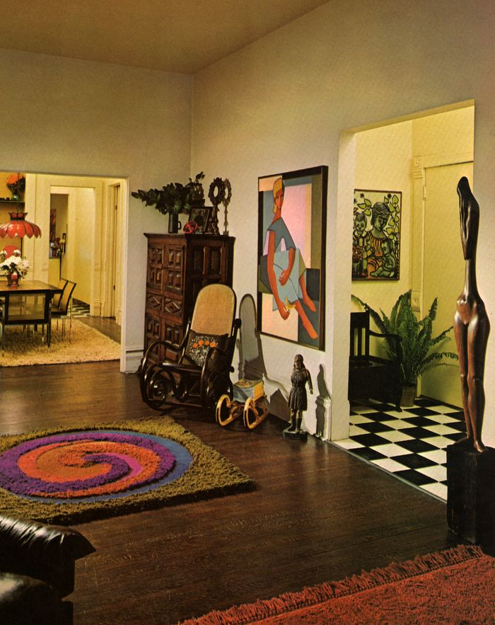 Living Room Foyer Rug Bentwood Rocking Chair Painting Checkered Floor Art Antique Sculpture