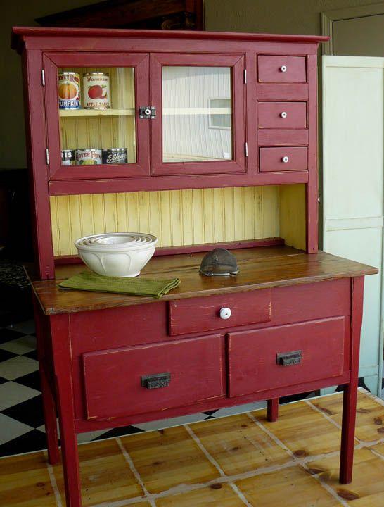 My kitchen is begging for the cabinet. Antique Kitchen CabinetsAntique HutchRed  ... - 9 Best Hoosiers Images On Pinterest Vintage Kitchen, Antique