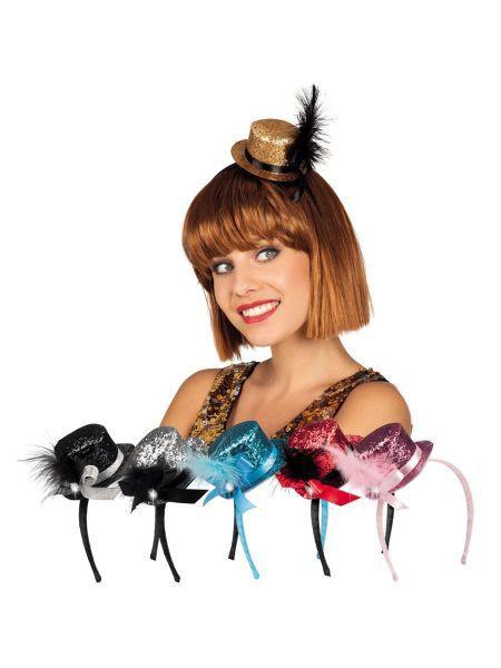 """https://11ter11ter.de/46583608.html Partyaccesoire für Silvester """"Tiara Minihut"""" in verschiedenen Farben mit Feder #11ter11ter #outfit #accesoires #silvester #party #neujahr #mottoparty"""