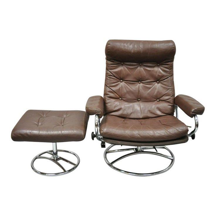 Vintage Mid Century Modern Ekornes Stressless Brown