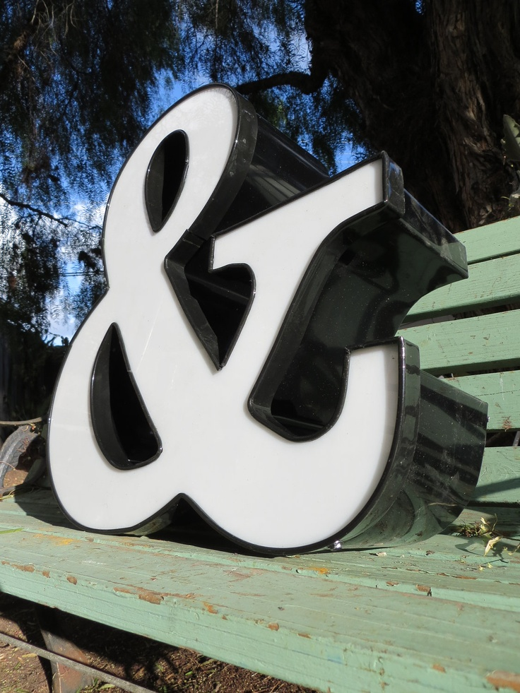 Large Industrial Advertising Neon Channel Sign Symbol: Black and White Ampersand (and) Symbol. $140.00, via Etsy.