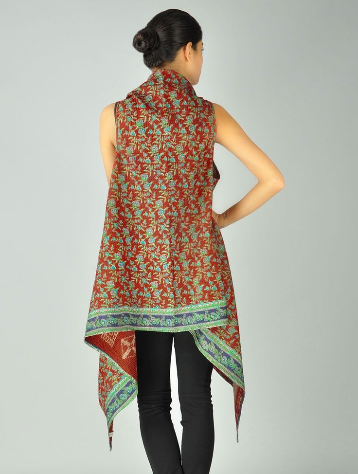 Silk-Saree Kantha Shrug (Free Size)-- a use for my sari's!!
