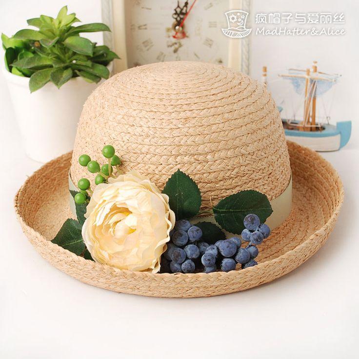 【果语飘香】花果装饰拉菲草卷边草帽 夏天 女 疯帽子与爱丽丝-淘宝网