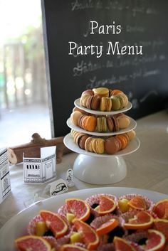 Easy food ideas for a kids' Paris themed party  -  complete with macarons