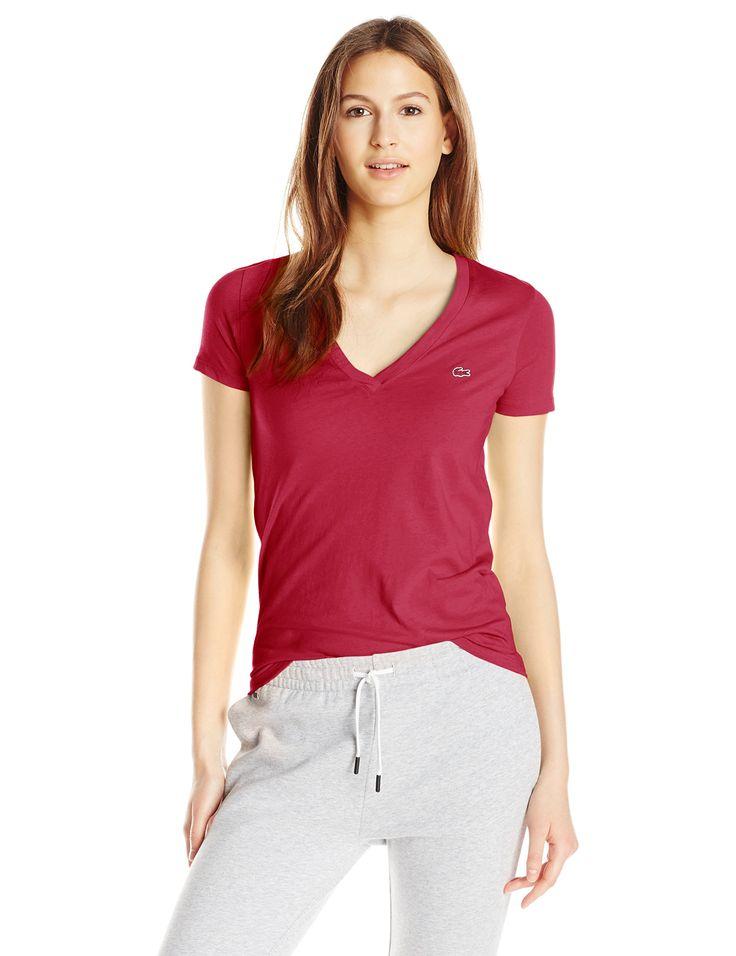 Lacoste Women's Short-Sleeve Cotton Jersey V-Neck T-Shirt, Bordeaux, 32