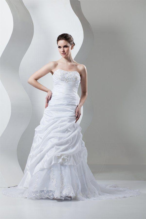 Robe de mariée vie taffetas a-ligne avec sans manches textile taffetas