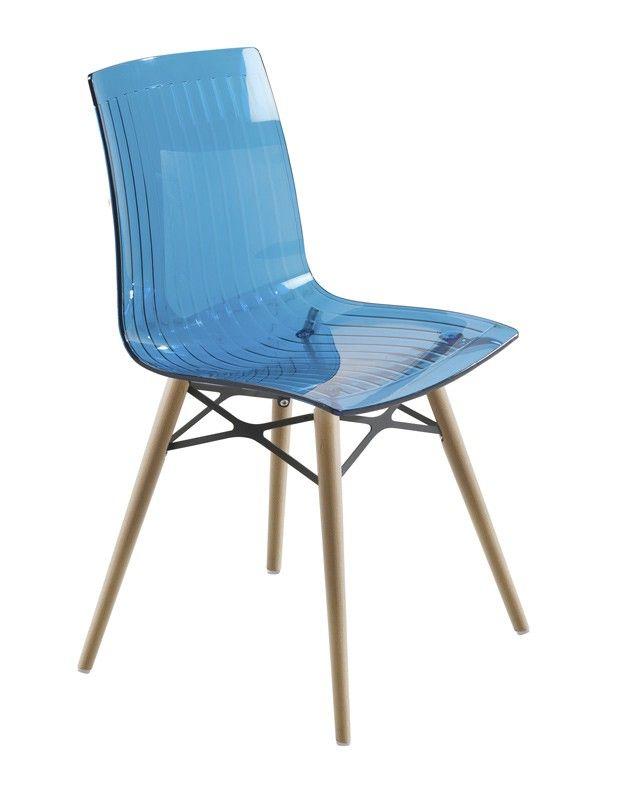 X-treme  Spisebordsstol - blå - Smuk blå spisebordsstol med formstøbt sæde i transparent og slidstærk plast. Stolen har fire lyse træben, som på bedste vis forener det klassiske med det moderne.