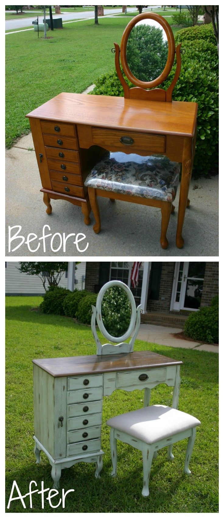 Distressed Mint Refinished Vanity https://www.facebook.com/BleakToChicFurniture