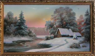 Дом в зимнем лесу - Зимний пейзаж <- Картины маслом <- Картины - Каталог | Универсальный интернет-магазин подарков и сувениров