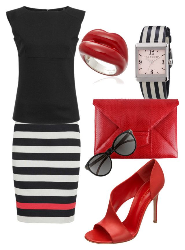"""I Don't Actually Wear Red..."" by rachelle710 ❤ liked on Polyvore featuring Diane Von Furstenberg, Gianvito Rossi, Lulu Guinness, Oscar de la Renta, Kate Spade and Solange Azagury-Partridge"
