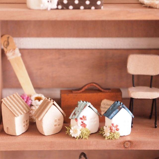 shi-15さんの、おうちモチーフが好き♡,ドライフラワー,ダイソー,スプーンアレンジ,紙粘土のおうち,木粉粘土ハウス,ナチュラルキッチン,Love Like aiko♡,雑貨屋さんの陳列棚風,棚,のお部屋写真