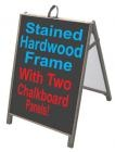 2-Sided Portable Wood Sidewalk Signs, Curb Signs & A-Frame Signs in Stained Hardwood, Sealed With Exterior Deck Sealer, Very Weather Resistant.