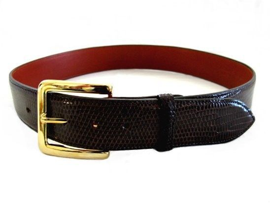 85.00$  Watch now - http://vihyc.justgood.pw/vig/item.php?t=dmfy9i40411 - Billy Martin's Brown Lizard Belt with Gold Buckle size 28 85.00$