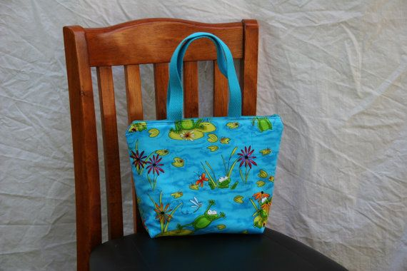 Child Size Kid Size Happy Frogs Insulated Lunch Tote Bag by elgies