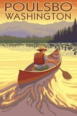 Poulsbo, Washington - Canoe Scene - Lantern Press Poster