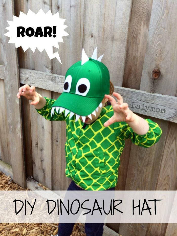 DIY Dinosaur Hat for Kids- This awesome dinosaur craft for preschoolers uses cutting and gluing skills to turn a plain hat into a fun hand m...