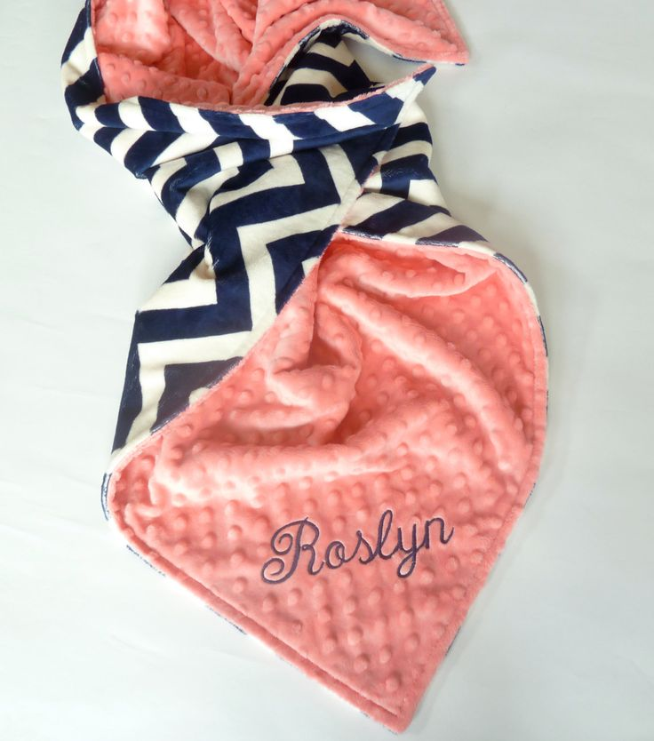 Personalized Baby Blanket -  Baby Girl or Boy blanket - Custom Made - You Choose Minky Color - Navy Chevron, Coral, Pink by ModernMommaHandmade on Etsy