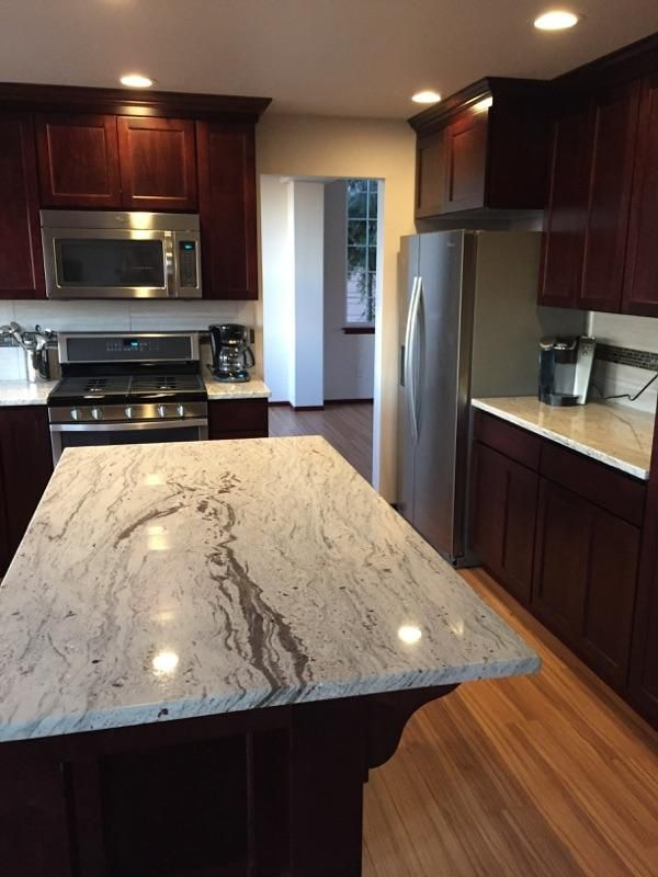 New Kitchen With Dark Cherry Cabinets, Wine River Granite Counters.
