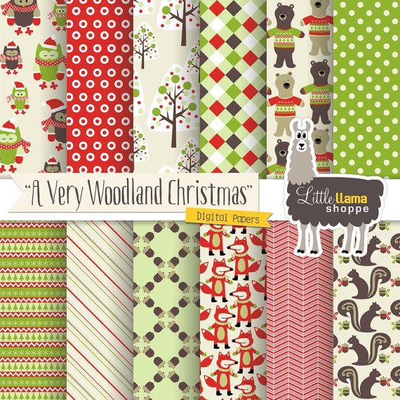 Woodland Christmas Digital Scrapbook Paper, Christmas Owl, Fox, Bear, Acorn, Instant Download, Commercial Use, 8.5x11 & 12x12