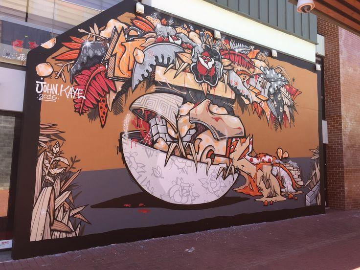 @sherriewilsonprojects  #johnkaye #johnkayeart #perth #mural #streetart  http://www.sherriewilsonprojects.com/projects/streetside_festival/