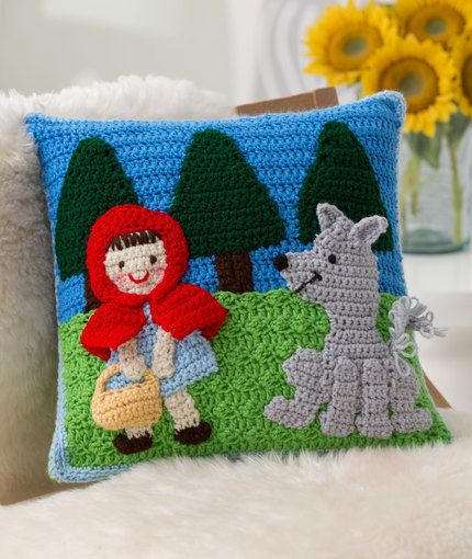 Red Riding Hood Pillow, this charming depiction of Red Riding Hood and the Wolf in crochet to love and enjoy. Back features grandma's house: free crochet pattern