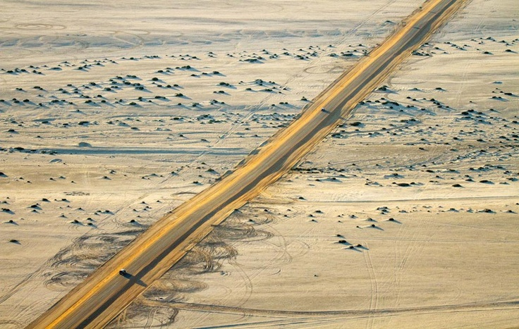 The desert highway between Swakopmund and Henties Bay on the Skeleton Coast of Namibia