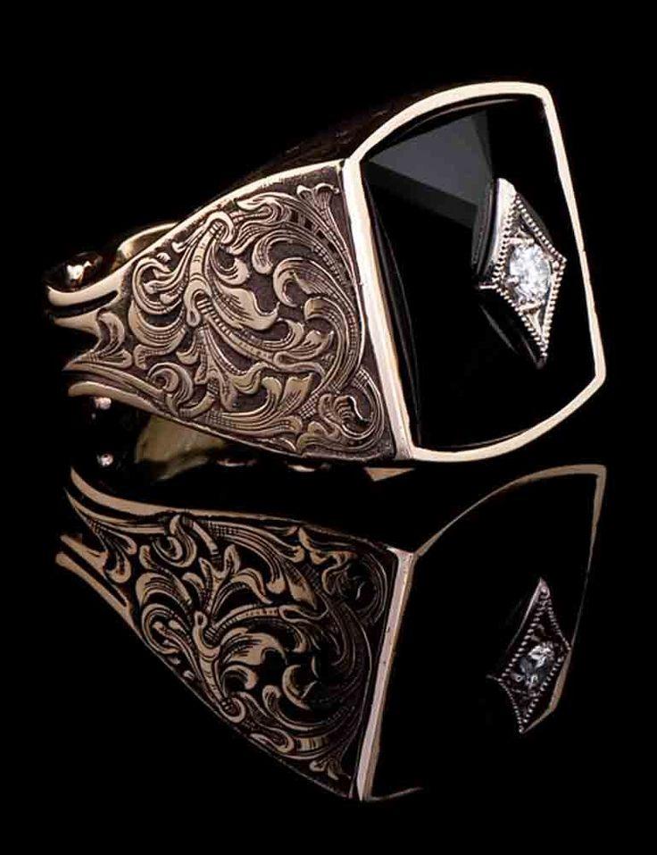 J. Chapa Hernandez | Black Jade Diamond Ring BJ-604 - MEN'S RINGS | Bellevue, WA