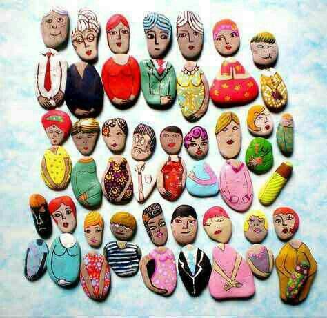 Eine etwas andere Art mit Steinen zu verzieren. Macht mal ein Familien Bild daraus. Viel Spaß.
