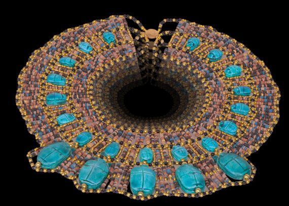 Egyptian Mummybead Queen Cleopatra Necklace 22 Scarab by thenile, $29.00