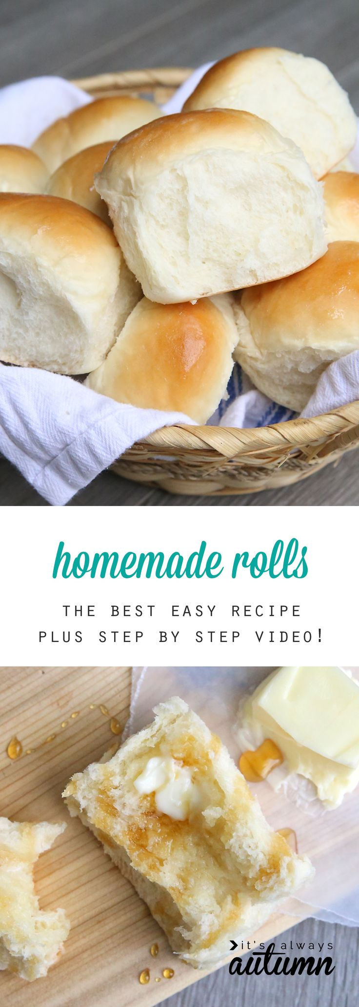 This is THE BEST easy homemade dinner rolls recipe, and there's even a video tutorial that walks you through every step of the instructions. You can use this recipe to make bread, cinnamon rolls, breadsticks, and more! It's delicious.