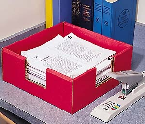 """The Stacker - Set of 2 $12.99  Extra-sturdy bins allow you to stack lots and lots of crisscrossed paper!  Holds up to 1,200 sheets of crisscrossed 8½"""" x 11"""" paper  Side openings make it easy to retrieve the entire stack at once  Double reinforced for extra sturdiness  Set of two includes one red and one blue  Assembles to 5"""" high x 12½"""" wide x 12½"""" deep  Made in the USA from recycled corrugated fiberboard: Crisscross, Criss Cross"""