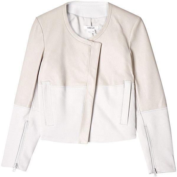 Helmut Lang Eel Husk White Motion Leather Jacket found on Polyvore