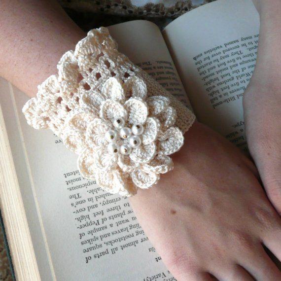 Cuff Elegant Silk Flower Faux Pearls Wedding Ecru Hand Crochet