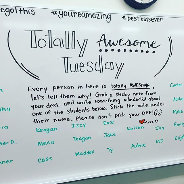 Tomorrow is #TotallyAwesomeTuesday! #miss5thswhiteboard