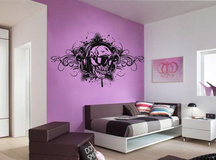 ik967 Wall Decal Sticker skull headphones music rock bass heavy metal bedroom
