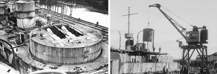 Cerberus being dismantled at Williamstown prior to be scuttled as a breakwater at Black Rock