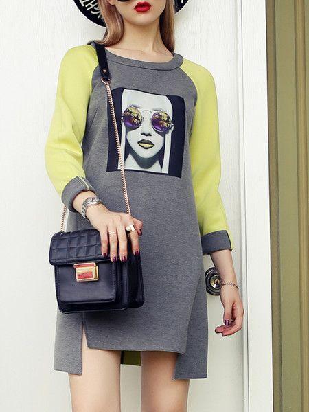 Gray Fashion Printed Midi dress for #woman to be pretty