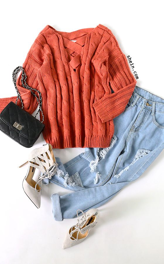 Cozy fall style-Rust open back criss cross cable Knit sweater outfit.