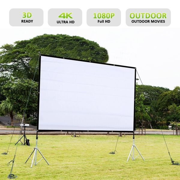 """60/""""//72/""""//84/""""//100/""""//120/"""" Projector Projection Screen 16:9 Home Cinema Theater White"""