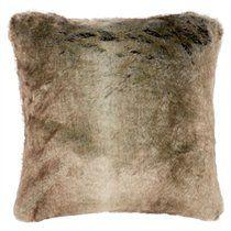 "Faux Fur Pillow Cover - Grey Fox, 18"" x 18"""