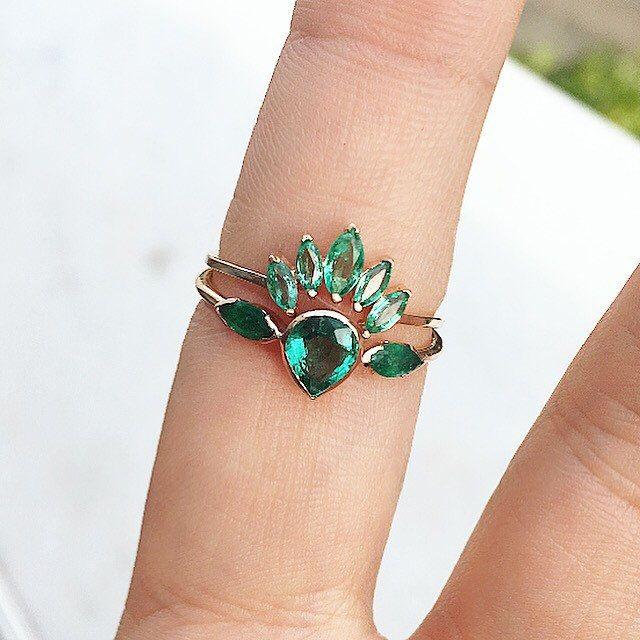 Emerald Wedding ring, Nestled Emerald Wedding Band, Prong Set Emerald Ring, Curved Wedding Band With Emeralds, Curved Emerald ring, crown by MintheJewellery on Etsy https://www.etsy.com/listing/478647544/emerald-wedding-ring-nestled-emerald