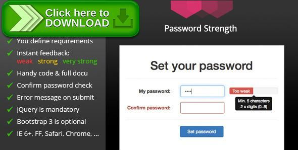 [ThemeForest]Free nulled download Password Strength from http://zippyfile.download/f.php?id=50501 Tags: ecommerce, check, checker, form, jquery, meter, password, review, strength, tooltip