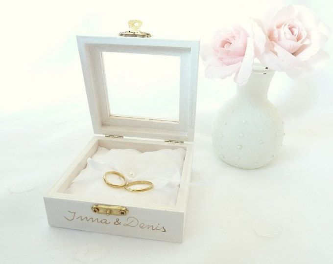 Anello di nozze scatola anello portatore cuscino Box anello bianco cuscino matrimonio tradizionale ed elegante cuscino