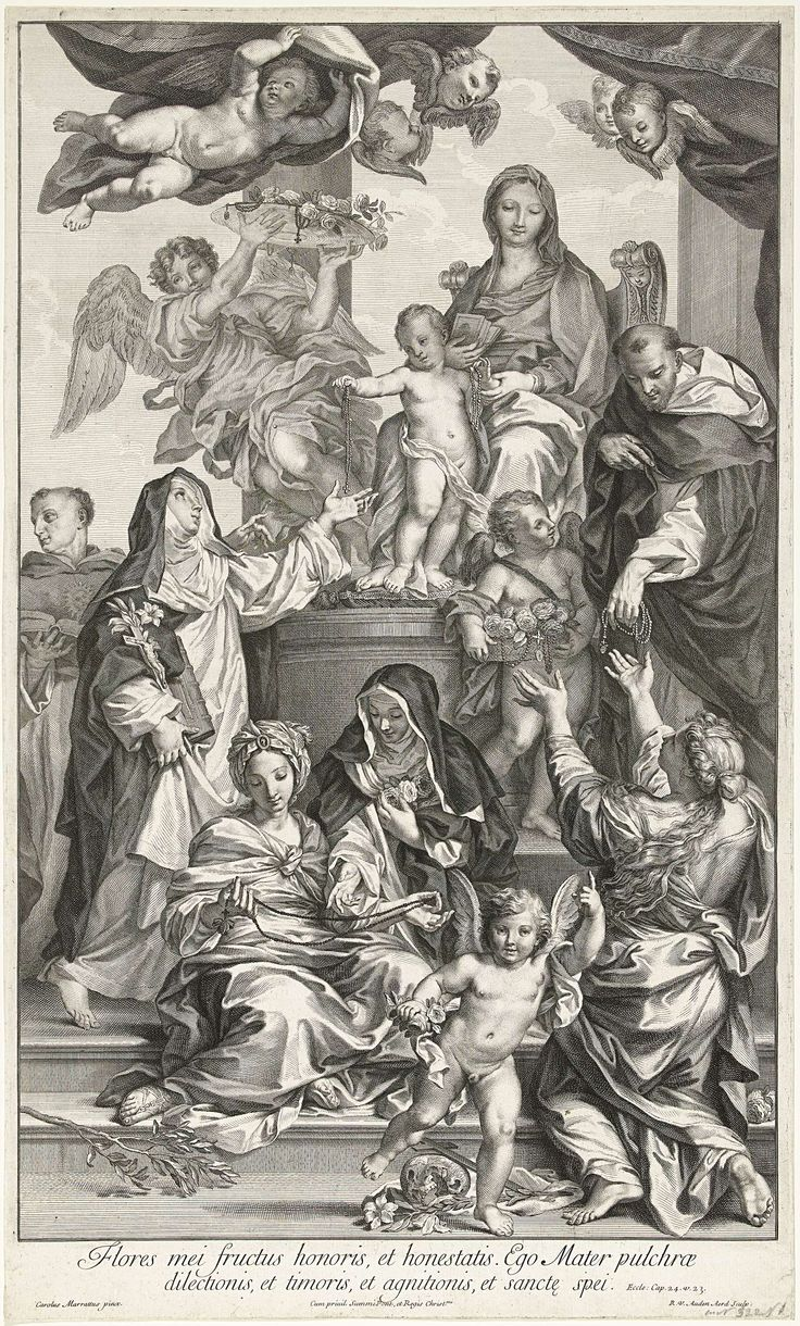Robert van Audenaerd | Maria met kind op troon, met rozenkransen, Robert van Audenaerd, 1695 - 1700 | Maria zit op een troon en Christus staat voor haar op een kussen. Hij deelt rozenkransen uit aan leden van de Dominicanenorde. Rechts Dominicus en links Catharina van Siena. Deze geven de kransen verder aan anderen. Onder de voorstelling een vers uit de bijbel in het Latijn.
