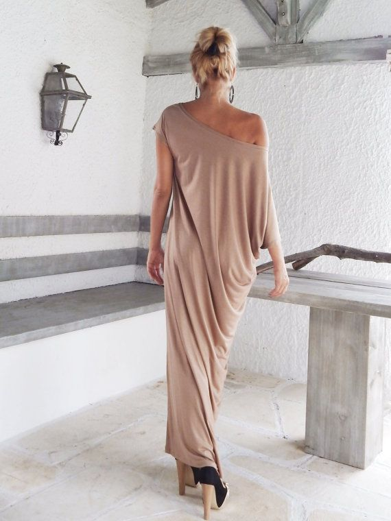Taupe Maxi Dress / Taupe Kaftan / Asymmetric Plus Size Dress / Oversize Loose Dress / #35024  This elegant, sophisticated, loose and comfortable