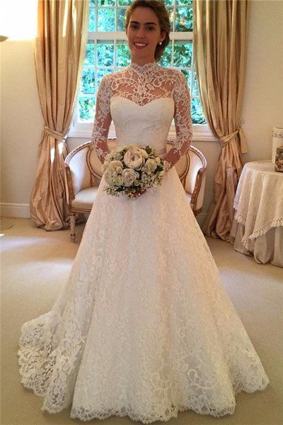 Lace Wedding Dress with Sleeves,Dresses For Brides,Bridal Gown from LaurelBridal