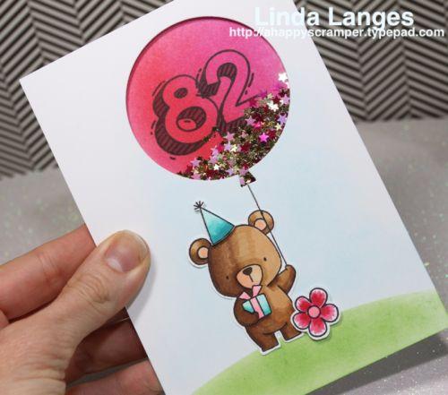 Video, #sssfave, MFT Beary Special Birthday; shaker card; Waffle Flower Sketchy Numbers; Linda Langes; birthday card; #mftstamps; #waffleflower,