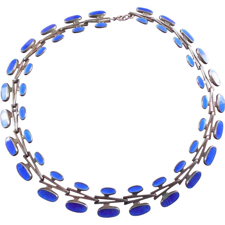What a beautiful Mid Century Modern Sterling  Enamel necklace by one of Norway's noted artisans, Albert Sharning.   The necklace is 925 silver with