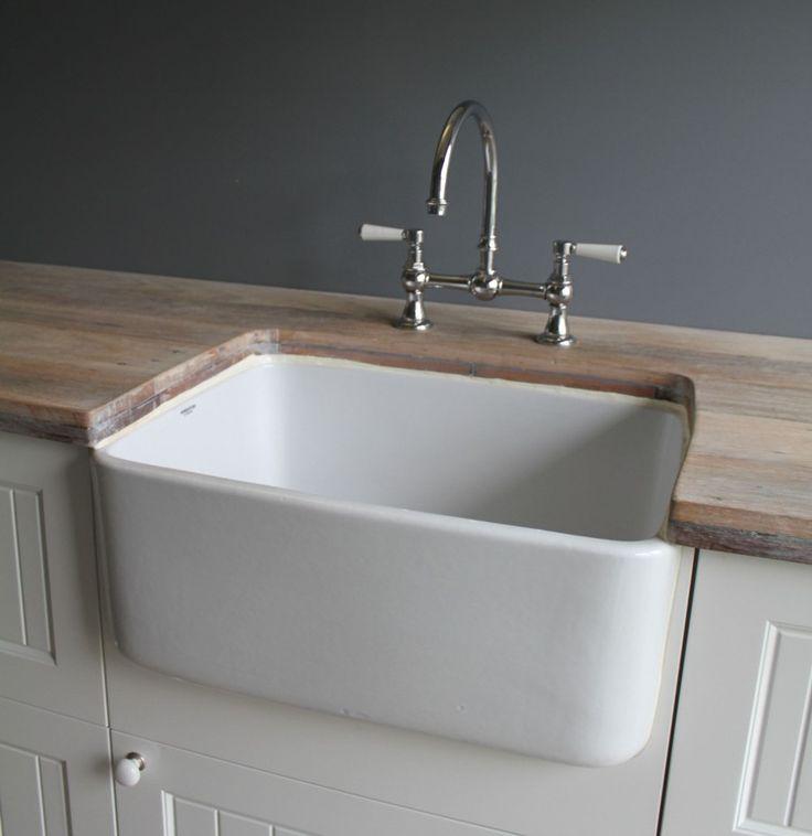 Butler sink fireclay 250mm deep without overflow for Outdoor vanity sink