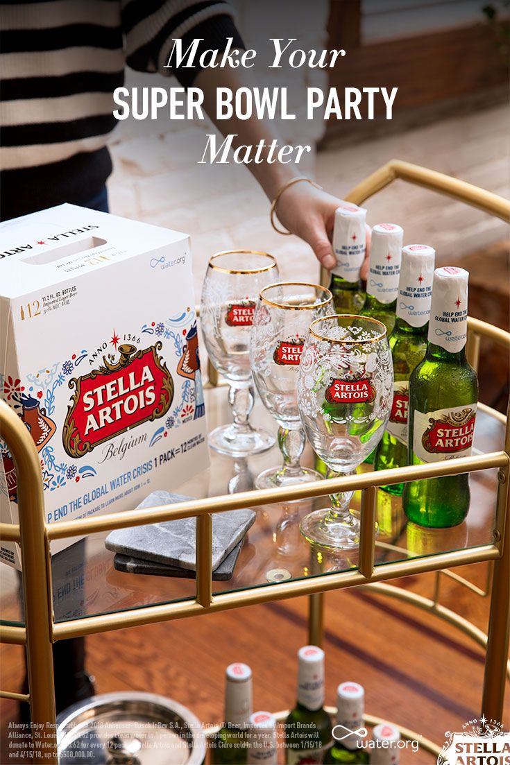 During your Super Bowl party stock your bar cart with a beer that makes a difference. Every 12-pack of Stella Artois provides 1 year of clean water to someone in the developing world affected by the global water crisis.